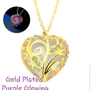 Jewelry - Gold Plated Purple Glowing Heart Necklace